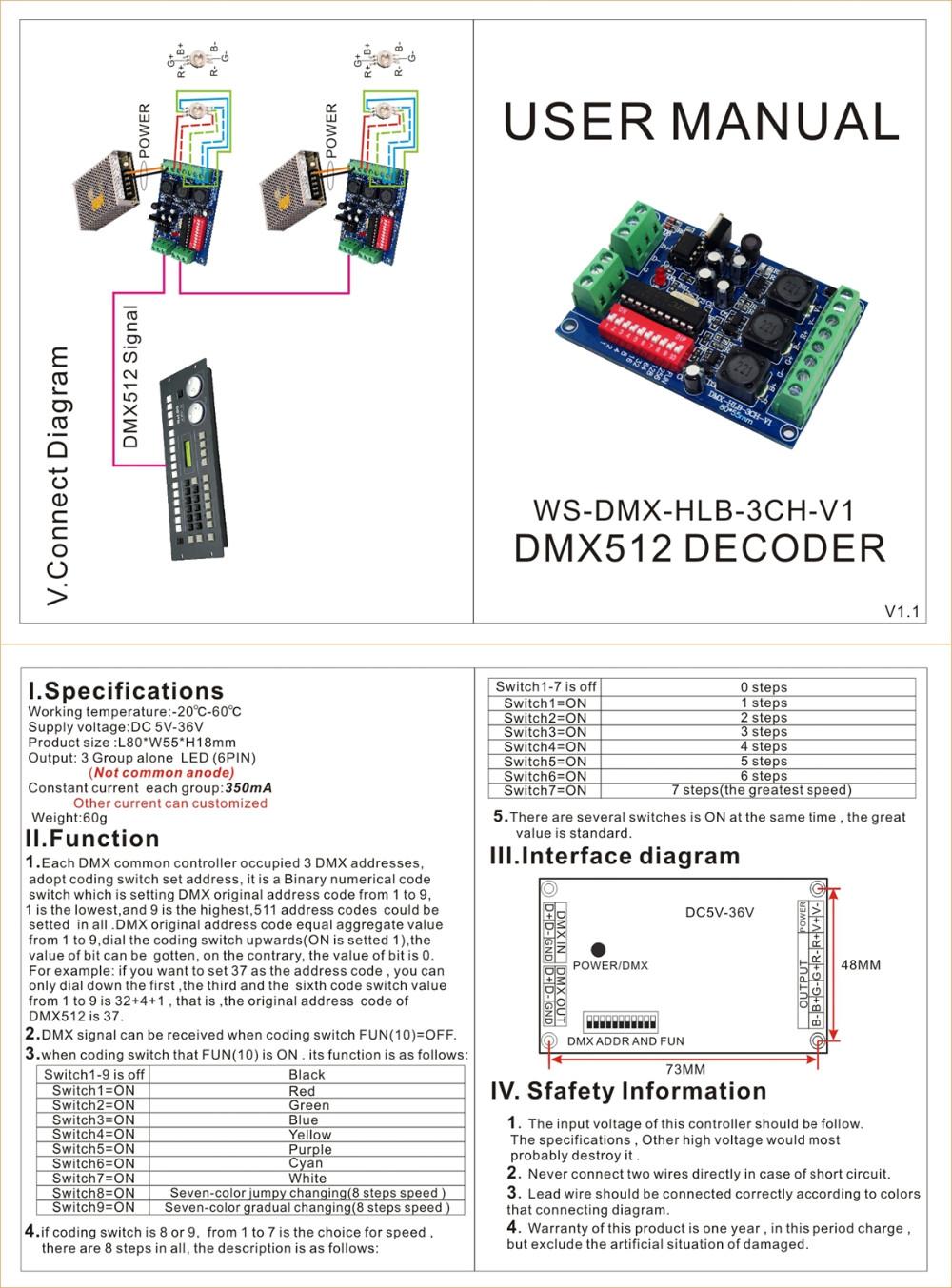 Ws Dmx Hlb 3ch 350ma 3ch 350ma Dmx512 Decoder Dmx Controller
