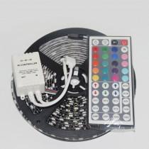 RGB 5050 Black PCB LED Strip DC 12V 60LED/M 5M/Roll With Controller